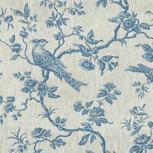 Textiles français The Regal Birds Toile de Jouy fabric - Denim Blue