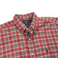 Ralph Lauren Men's Classic Fit Button Shirt Red Green Plaid Flannel • Medium