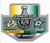 2019 NHL PLAYOFFS PIN 1ST ROUND DUEL NASHVILLE PREDATORS DALLAS STARS PUCK STYLE