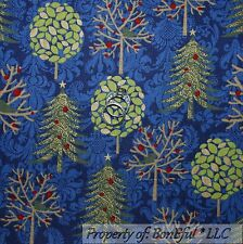 BonEful Fabric FQ Cotton Quilt Blue Gold Star S Xmas Green Tree Damask Red Berry