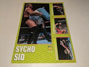 1996 WWF MAGAZINE TRADING CARDS UNCUT 4-Card Sheet Set SYCHO SID Jumbo Card