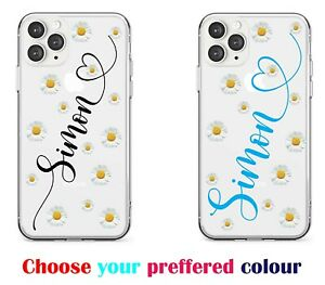 NAME AND HEARTS PERSONALISED CLEAR SILICONE PHONE CASE FOR IPHONE/SAMSUNG/HUAWEI