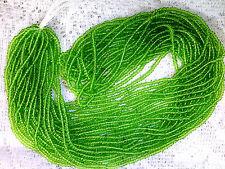 Vtg 1 HANK TRANSPARENT LEAF GREEN GLASS SEED BEADS 15/0? CZECH #062415b