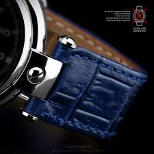 UHRENBAND LEDERBAND 20mm mit Ausschnitt Aussparung Poljot Basilika Uhr Blau