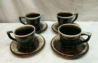 Set Of 4 Vintage Pfaltzgraff Brown Drip Stoneware Mug Cups and Saucers UNUSED