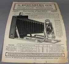 Klappkamera - Verkaufsprosp. mit Preisen - G. Rüdenberg jun. - Saison 1908 /S137