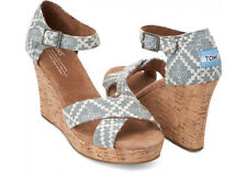 NEW Authentic Toms Denim Embroidered Strappy Wedge Sandals, Women Size 12