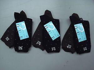 NWT Women's Hue Super Socks Pindot Larger Shoe 9-13 Espresso/Black 6 Pair #209J