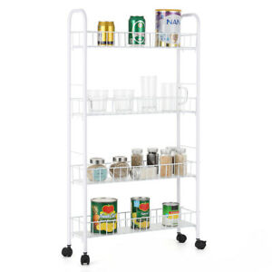 4 Tier Metal Mesh Rolling Cart, Wire Basket Shelf Trolley for Kitchen,Bathroom