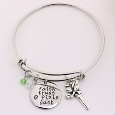 Tinker Bell Adjustable Womens Bangle Charm Bracelet Faith Trust & Pixie Dust New