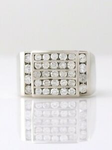 Classic 14K White Gold Over Round Cut Diamond Ice Box Channel Statement Men Ring