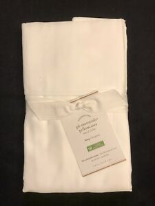 POTTERY BARN PB ESSENTIALS SET OF 2 KING PILLOWCASES WHITE NEW WITH TAG