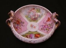 DRESDEN PORCELAIN BOWL MAIDENS & CUPIDS 1800'S DOUBLE CROSSED LINES KAUFMANN