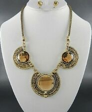 Topaz Brown Facted Circle Glass Stud Burnish Gold Tone Necklace Earring Set