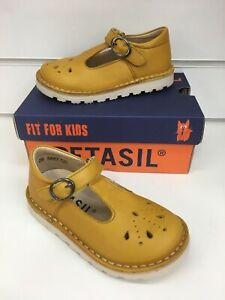 Petasil Andrea Classic Girl T-Bar Shoes in Mustard Leather ( New Season)