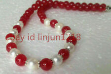 "Fashion 8mm Red Jade 8mm White Akoya Shell Pearl Gemstone Necklace 18"" AAA"
