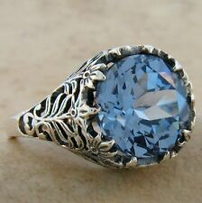 SIM AQUAMARINE FILIGREE VINTAGE DESIGN .925 STERLING SILVER RING SIZE 10,   #738