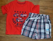 Jumping Beans Shorts Set Size 3 Months Fire Engine T-Shirt & Plaid Shorts