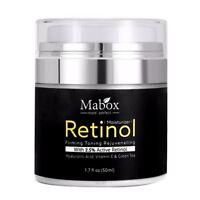 Mabox 50ml Retinol 2.5%Moisturizer Face Cream Hyaluronic Acid AntiAging Remov Y3