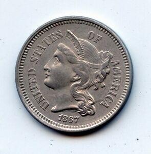 1867 Three Cent 3c Nickel   (SEE PROMO)