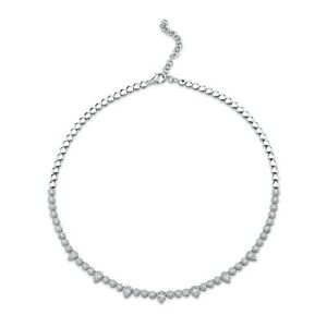 Pear Cut Diamond Tennis Necklace 14K White Gold Certified Natural 3.65CT
