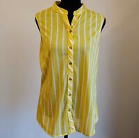 ~Anthropologie~ Oliva + Eden Yellow White Striped Sleeveless Tank Top Shirt