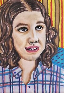 Millie Bobby Brown Eleven El ACEO Original Painting Stranger Things Season 3 Art