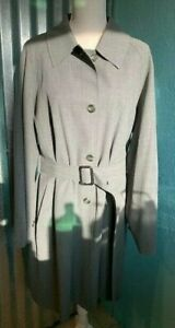 Vintage Ron Leal Tench Coat, Gray, Size 14