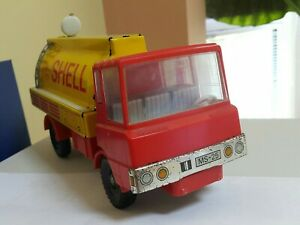 VINTAGE TRUCK SHELL MS-25 TIN METAL PLASTIC TOY FRICTION GERMANY 1970 WORKS RARE