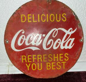 30er Original Coca Cola Emailschild aus USA Atlanta softdrink Rarität, sehr selt