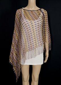 MISSONI Multi Color Chevron Stripe Open Knit Fringe Poncho One Size