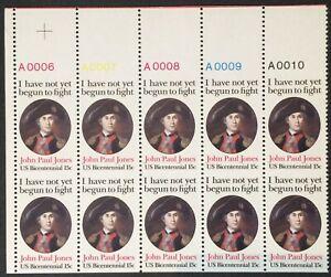 1789c, John Paul Jones Imperforate Horizontally Plate Block NH EFO Scott $625