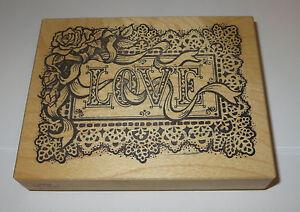"""LOVE Rose Rubber Stamp PSX Crochet Doily Frame Bow Roses Flowers 4 5/8"""" Long"""
