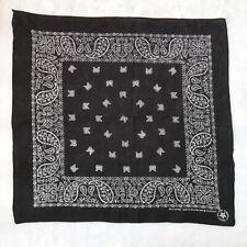 Vtg Antique Black Wamcraft Cotton Bandana Paisley White Cowboy Handkerchief USA
