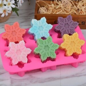 Snowflake Chocolate Mold Soap Silicone Ice Tray Cake Christmas Mould Part Craft