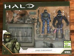 HALO UNSC Checkpoint w/ Spartan Gungir and Elite Mercenary Action Figure Set