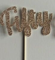 Cup Cake Toppers Fifty, birthday, anniversary Rose Gold Glitter Pack of 6