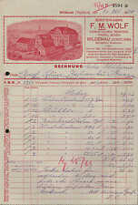 WILDENAU (VOGTLAND), Rechnung 1934, Bürsten-Fabrik F. M. Wolf
