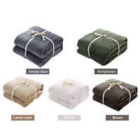 2 Size Super Soft Warm Solid Micro Plush Fleece Blanket Throw Rug Sofa Bedding