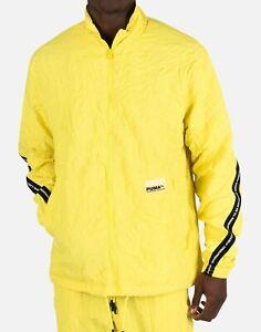 PUMA Avenir Woven Track Jacket Yellow Men's Size M Medium Full Zip Nylon