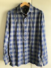 Dunhill. Dunhill London. Blue / Grey Check Flannel Shirt. Size Med.