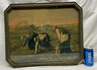 """Vtg 1920-30's Octagon Frame Harvest Americana Country Farm House 20""""x16"""" Picture"""