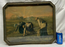 "Vtg 1920-30's Octagon Frame Harvest Americana Country Farm House 20""x16"" Picture"