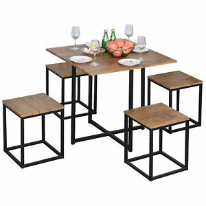 Modern Bar Table Set Stool Chair Bistro Dining Kitchen Furniture Compact Brown