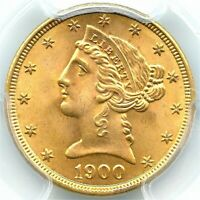1900 $5 Gold Liberty Half Eagle, PCGS MS-66, Very Flashy Gold, Brilliant Coin!