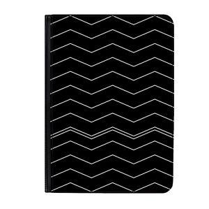 "Black & White Zig Zag Pattern Classic Universal 9-10.1"" Leather Flip Case Cover"