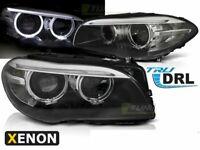 Coppia di Fari Anteriori per BMW F10 F11 2010-2013 AE LED Neri DRL Bi-Xenon IT L