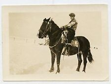 Snapshot Photo - Man Sitting on Large Horse - Snow on Ground - Hat & Boots