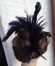 Navy Blue Piuma Pettine Fascinator con modisteria Matrimonio Ascot Cappello Capelli Pezzo