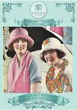Instructions to make these 2 Vintage 1920s flapper cloche hats-crochet patterns